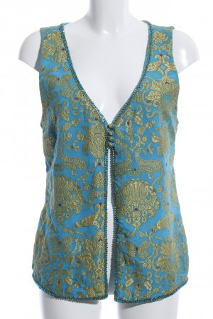 Amor & Psyche Knitted Vest blue-gold-colored abstract pattern elegant