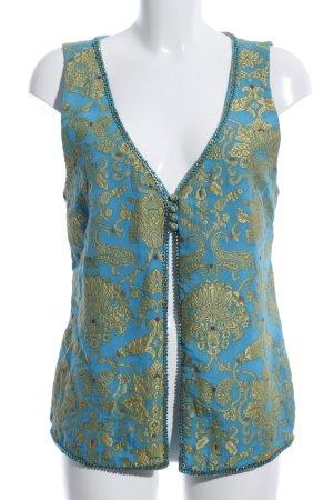 Amor & Psyche Strickweste blau-goldfarben abstraktes Muster Elegant