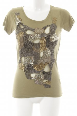 Amor & Psyche T-Shirt olive green abstract pattern wet-look