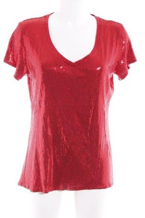 Amor & Psyche T-shirt col en V rouge Ornements pailleté