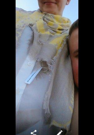 Amorph Blue Tuch Schal Halstuch Scarf Shawl Taupe Gelb Fransen