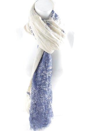 Amorph Fransenschal beige-blau abstraktes Muster Gypsy-Look