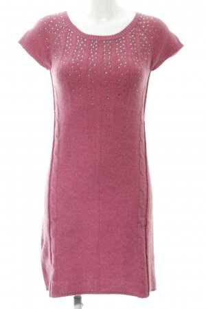Amphora Woolen Dress pink cable stitch casual look