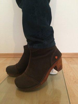 Amsterdam Art Designer Schuhe Booties Clogs  Stiefeletten Stiefel Boots ankle dunkelbraun Profilsohle echtleder cool