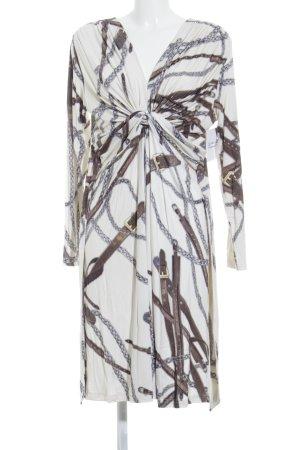 Amy Vermont Jurk met lange mouwen room-bruin abstracte print elegant