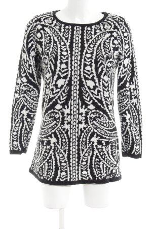 Amy Vermont Jersey largo negro-blanco estampado gráfico look casual