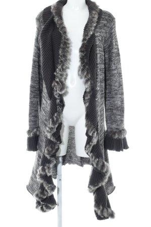 Amy Vermont Veste en tricot brun foncé-gris moucheté style décontracté