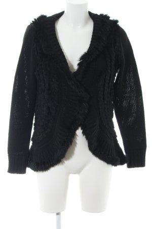 Amy Vermont Giacca in maglia nero punto treccia stile casual