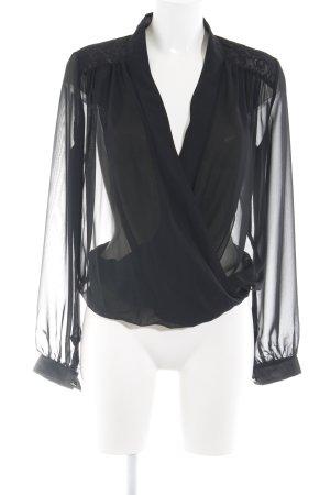 Amy Vermont Transparenz-Bluse schwarz Allover-Druck Elegant