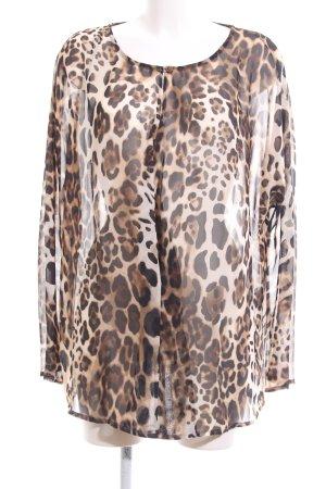Amy Vermont Transparenz-Bluse creme-braun Allover-Druck Elegant