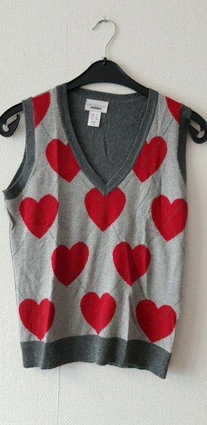 Amy Vermont V-Neck Sweater silver-colored-dark red wool