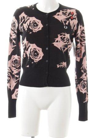 Amy Winehouse Cardigan schwarz-rosa florales Muster Romantik-Look