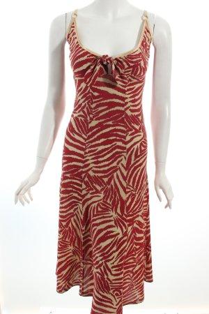 Ana Alcazar A-Linien Kleid beige-dunkelrot Animalmuster Knoten-Detail