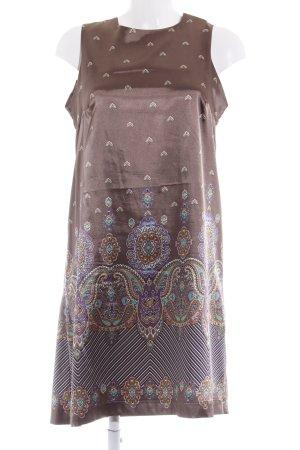 Ana Alcazar Vestido línea A marrón claro estampado floral elegante