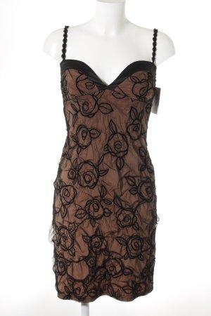 Ana Alcazar Abito longuette nero-marrone motivo floreale stile festa