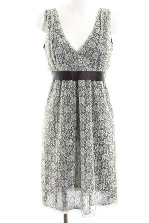 Ana Alcazar Empire Dress black-oatmeal floral pattern elegant