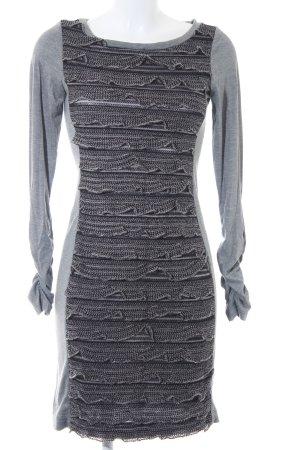 Ana Alcazar Jerseykleid grau-schwarz Lochstrickmuster Casual-Look