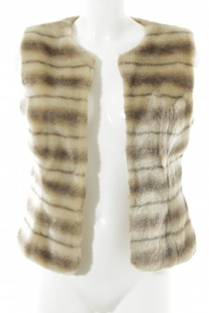 Ana Alcazar Fake Fur Vest dark brown-beige striped pattern fluffy