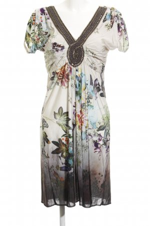 Ana Alcazar Kurzarmkleid graugrün-weiß extravaganter Stil