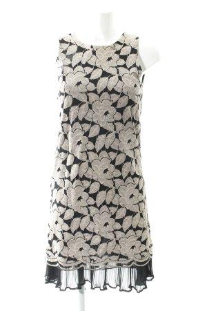 Ana Alcazar Abito a maniche corte nero-beige motivo floreale elegante
