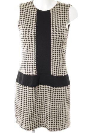Ana Alcazar Kurzarmkleid schwarz-creme abstraktes Muster Elegant