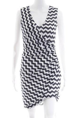 Ana Alcazar Shortsleeve Dress white-dark blue zigzag pattern elegant