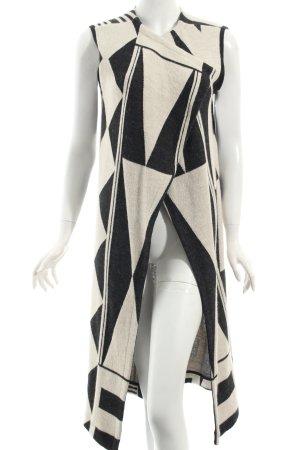 Ana Alcazar Longstrickweste hellbeige-schwarz grafisches Muster