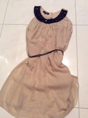 Ana Alcazar Marke Seidenkleid Mini 100%Seide! mit Unterkleid Gr.38 rose/ taupe
