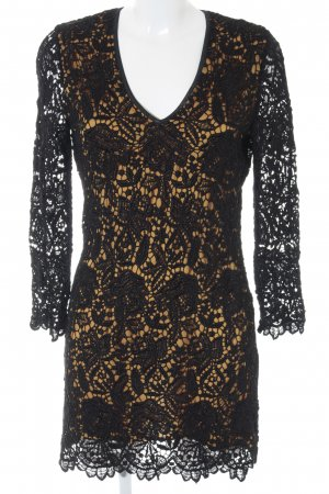 Ana Alcazar Spitzenkleid schwarz-dunkelgelb Blumenmuster Elegant