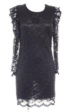 Ana Alcazar Abito in pizzo nero motivo floreale stile festa