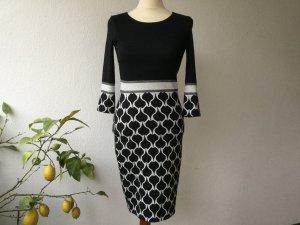 Ana Alcazar Strickkleid Kleid Gr. 34 schwarz hellgrau edel ¾ Arm Damen sehr guter Zustand