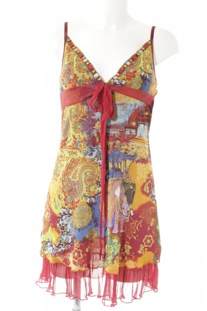 Ana Alcazar Pinafore dress red-yellow floral pattern extravagant style