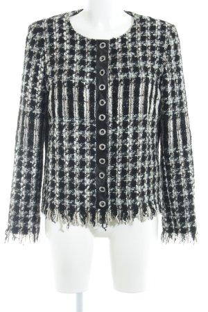 Ana Alcazar Blazer Tweed negro-blanco puro estampado a cuadros estilo clásico