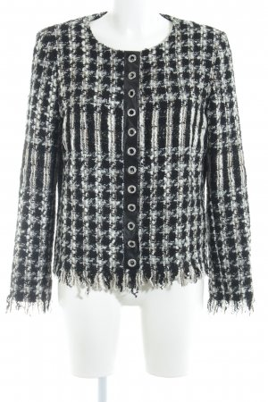 Ana Alcazar Tweed blazer zwart-wolwit geruite print klassieke stijl