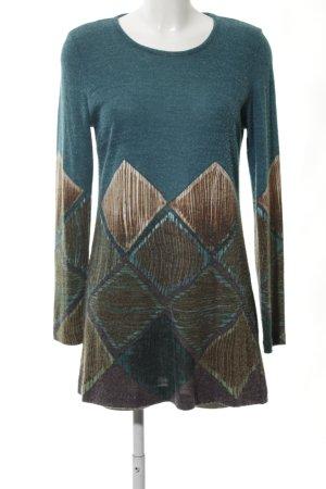 Ana Alcazar Vestido de lana verde-marrón estampado gráfico look casual