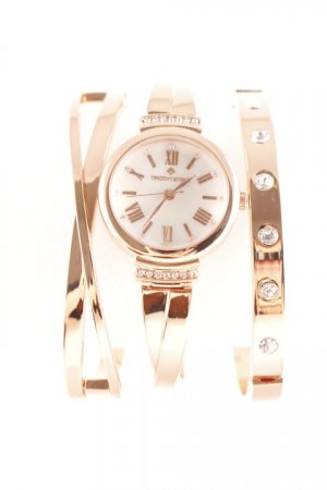 Orologio analogico bronzo-bianco elegante