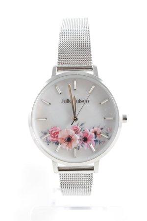 Orologio analogico argento motivo floreale stile casual