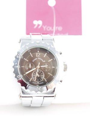 Analoog horloge zilver-taupe elegant