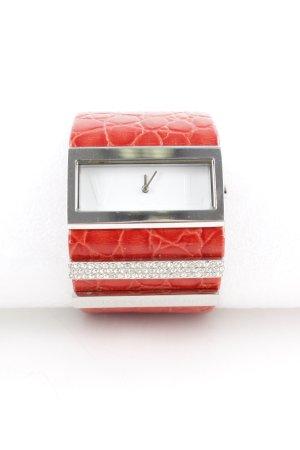 Analoog horloge baksteenrood-zilver glitter-achtig