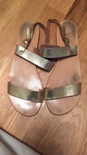 Ancient greek sandals Sandalo con cinturino oro Pelle