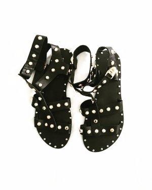 ancle sandalen • vintage • schwarz • gold • leder