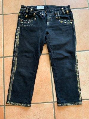 Ancora Capri Jeans schwarz mit Nieten und goldenen Akzenten, Größe 38