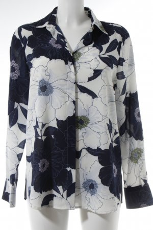 and camicie Long Sleeve Shirt steel blue-white flower pattern casual look