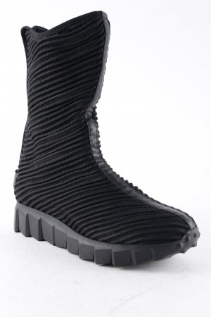 Andia Fora Platform Boots black striped pattern casual look