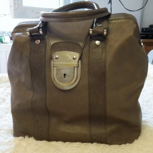 Carry Bag grey brown-light brown leather