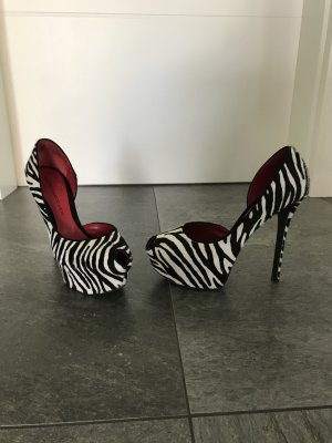 Andrea Cancellieri Made in Italy Designer Plateau Pumps Ponyfell Zebra