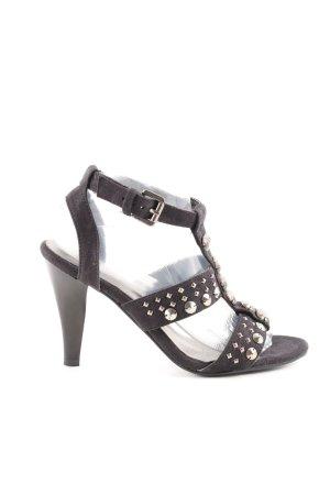Andrea Conti High Heel Sandaletten schwarz-goldfarben Elegant