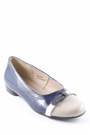 Andrea Conti Patent Leather Ballerinas dark blue-beige wet-look