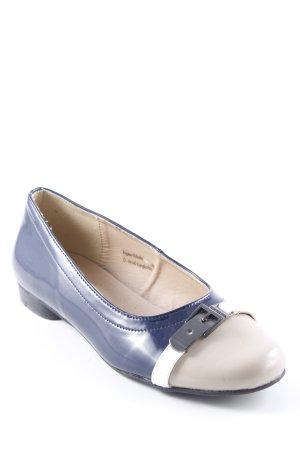 Andrea Conti Lackballerinas dunkelblau-beige Glanz-Optik