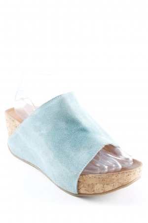 Andrea Conti Platform Sandals light blue-camel beach look